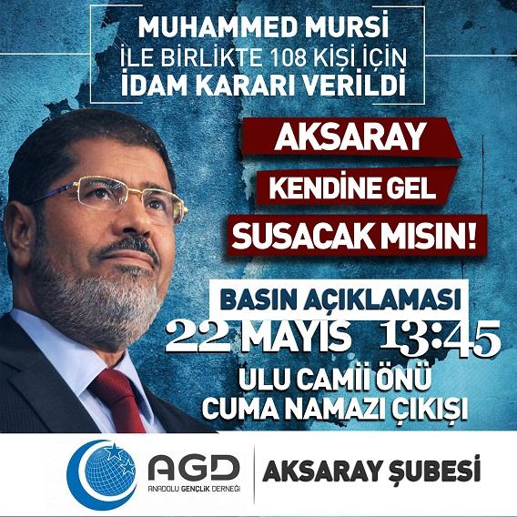 AGD Mursi'ye Verilen İdam Kararını Protesto Edecek