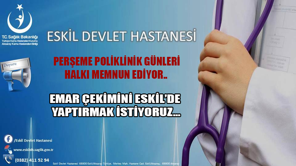 """Eskil Devlet Hastanesi """"Perşembe Poliklinik Günleri"""" Halkı Memnun ediyor…"""